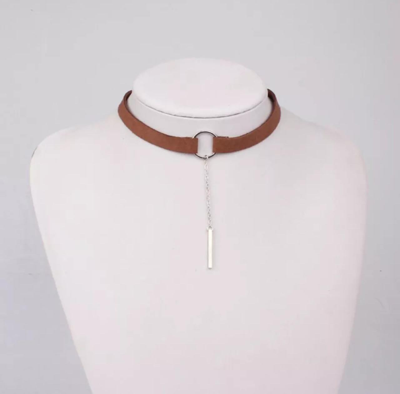 Чокер женский замшевый с подвеской бижутерия для девушек «Tiny» (коричневый)