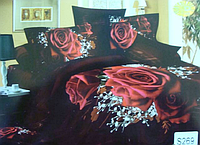 Сатиновое постельное белье евро 3D Люкс Elway S269