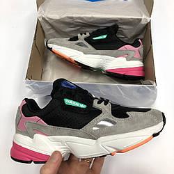 """Женские кроссовки Adidas Falcon """"Black/Grey/Pink"""" (люкс копия)"""