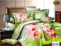 Сатиновое постельное белье евро 3D Люкс Elway S245