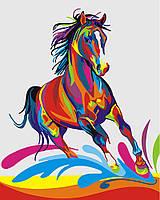"GX 26197 ""Радужный конь""  Роспись по номерам на холсте 40х50см без коробки, в пакете"