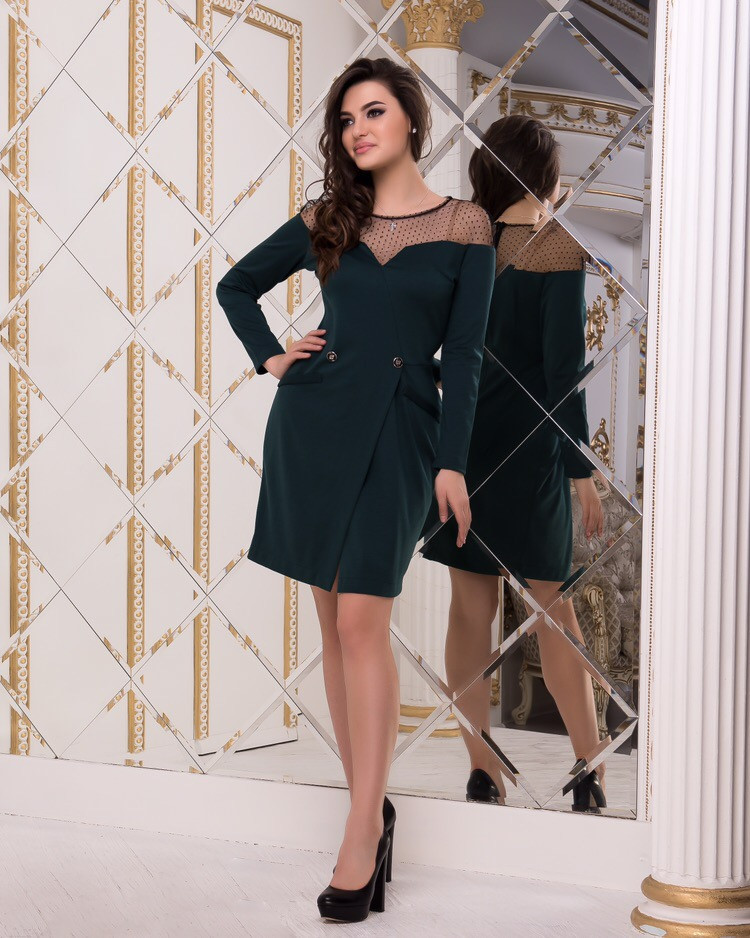 Трикотажное платье, на плечах сетка / 3 цвета арт 8412-613
