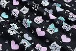 """Ткань хлопковая """"Домашние питомцы, лапки, сердечки"""" на чёрном (№1905), фото 6"""
