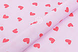 Хлопковая ткань с сердечками красного цвета на розовом фоне (№1907), фото 4