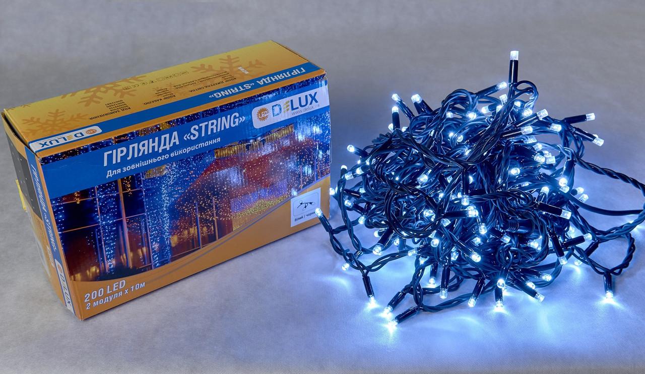 Гирлянда DELUX STRING 200LED 10m белая/черный провод, внешняя