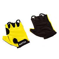 Перчатки вело, фитнес Matsa, лайкра р.L желтый MT-1000LY