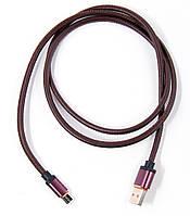 Кабель DENGOS зарядки и синхронизации, micro-USB, круглий 1м., искус.кожа (brown) (SHK-M-MT-BROWN)