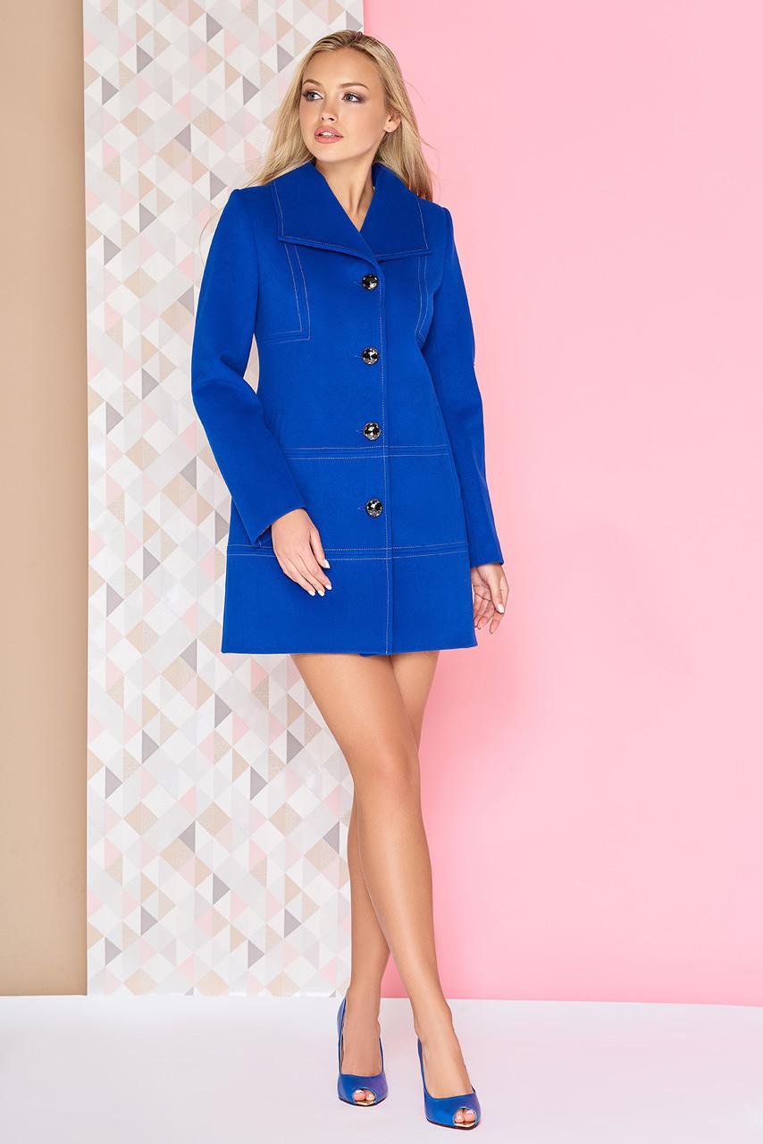 Короткое модное кашемировое пальто синее демисезонное