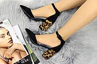 Туфли женские черные на каблуке Leopard 1110