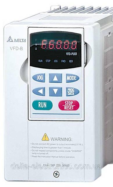 Преобразователь частоты Delta Electronics, 2,2 кВт, 460В,3ф.,векторный, общепромышленный,VFD022B43B