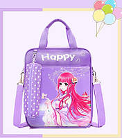 Рюкзак-сумка с пеналом для девочки фиолетовый