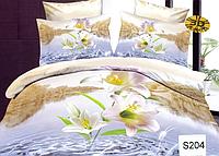 Сатиновое постельное белье евро 3D Люкс Elway S204