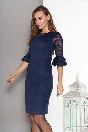 Элегантное платье короткое облегающее замш рукава три четверти из гипюра с рюшами темно синее, фото 2