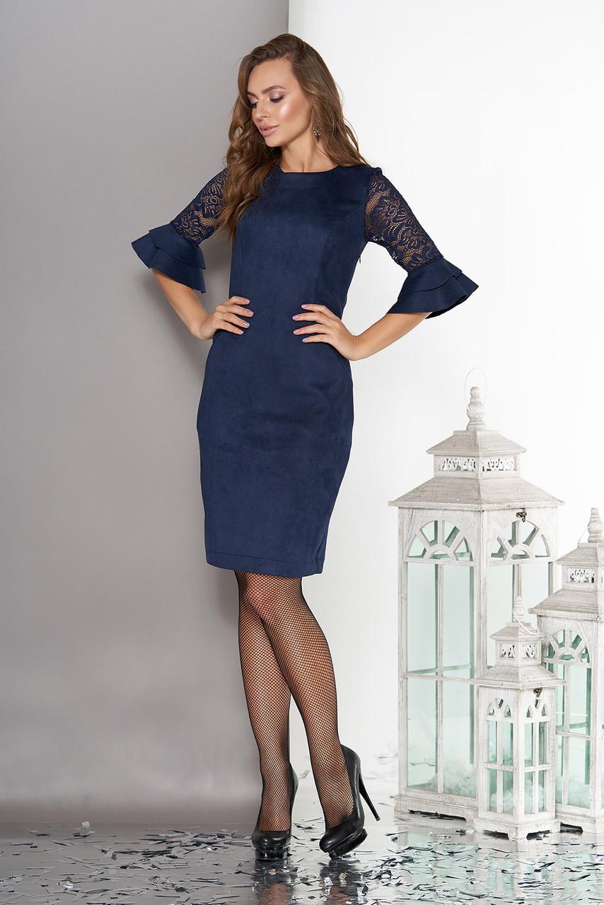 Элегантное платье короткое облегающее замш рукава три четверти из гипюра с рюшами темно синее