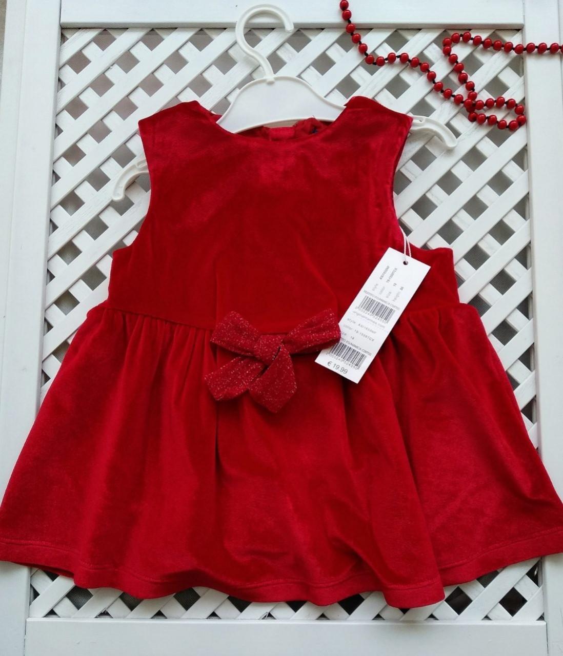 Плаття червоне велюрове 86 см Original Marines  продажа 23795e0668800
