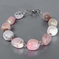 Опал розовый самородки полированные, браслет, 515БРО