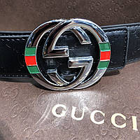 Мужской ремень Gucci Leather with Interlocking G Buckle Black and Silver with Web