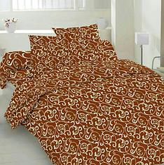 """Семейный комплект постельного белья """"Бежевый вензель на шоколаде"""""""