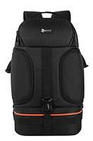 """Фоторюкзак универсальный + 15,6"""" отдел для ноутбука, черный с оранжевым ( код: IBF028BJ )"""