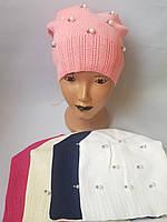 Детская вязаная шапка для девочки р 50-52 оптом