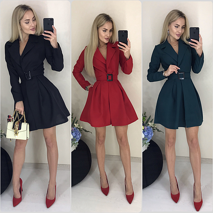 Короткое платье с запахом и поясом ft-420/разные цвета, 42-46, ft-420/, фото 2