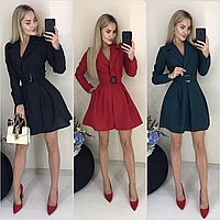Короткое платье с запахом и поясом ft-420/разные цвета, 42-46, ft-420/