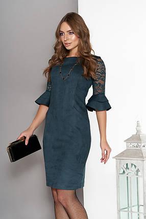 Оригинальное платье мини облегающее замшевое до локтя из гипюра рюши цвет бутылка, фото 2