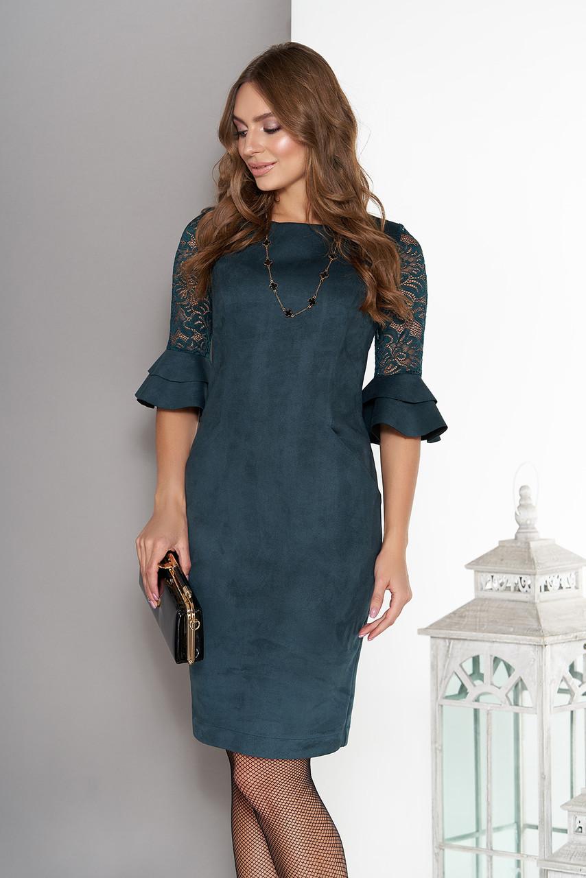 Оригинальное платье мини облегающее замшевое до локтя из гипюра рюши цвет бутылка