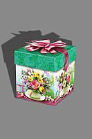 Праздничная коробка презент к  8 марта. Кубик букет  988