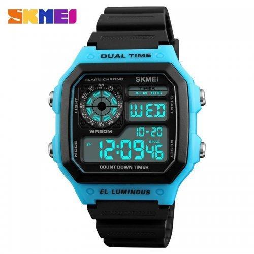 Мужские наручные часы Skmei 1299 Black-Blue-Black
