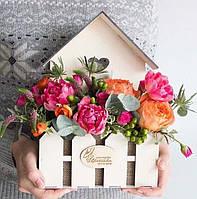 """Стильный деревянный ящик,корзина, кашпо """"Домик"""" для цветов, подарочных композиций"""