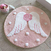 Круглый коврик для ванной Alessia крылья с высоким ворсом 90*90