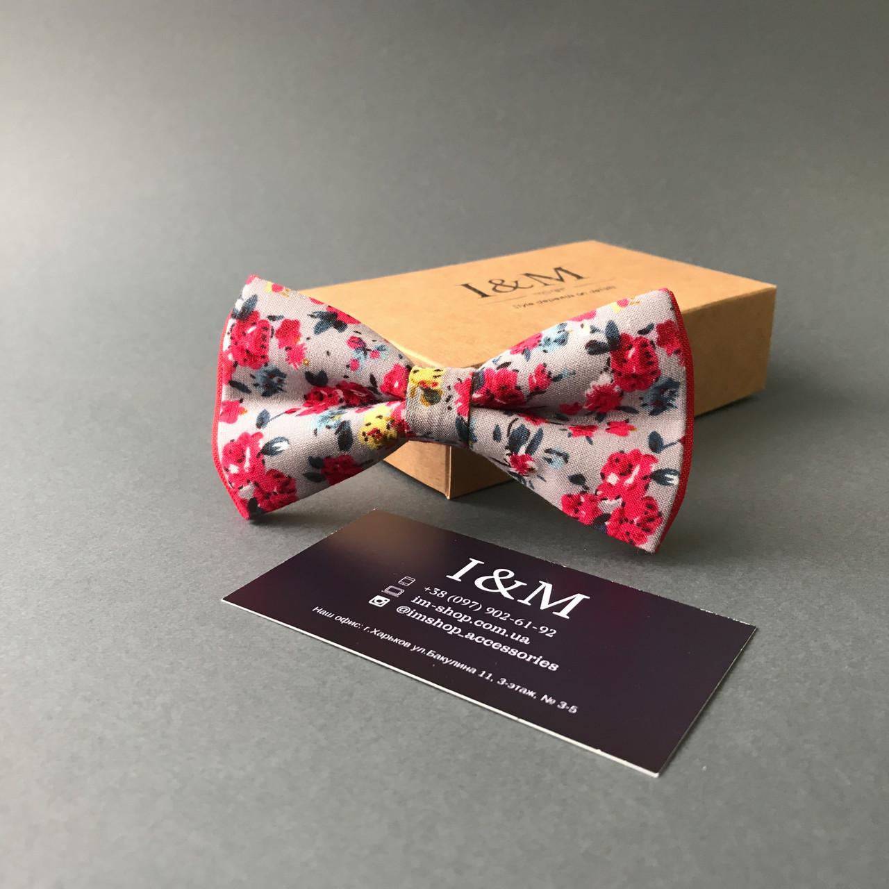 Галстук-бабочка I&M Craft с красными цветами (010265)