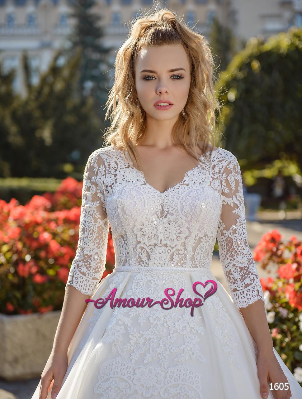 Свадебное платье пошив под заказ, Киев. (пышное с кружевными рукавами)