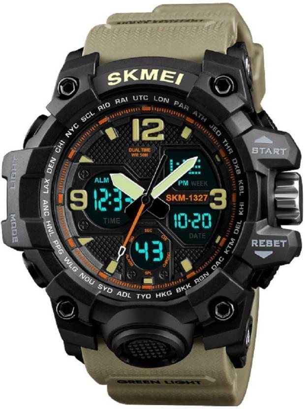 Мужские наручные часы Skmei 1343 Black-Khaki Wristband
