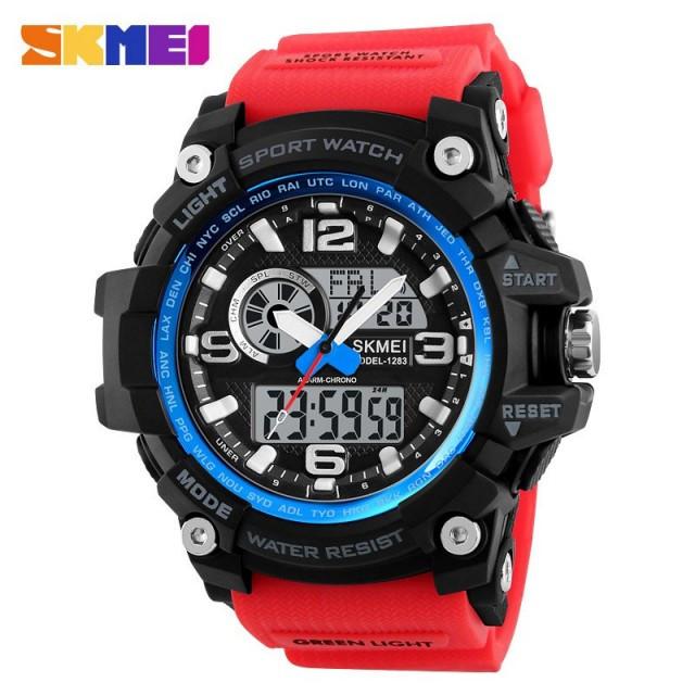 Мужские наручные часы Skmei 1283 Black-Blue-Red Wristband