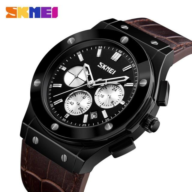 Мужские наручные часы Skmei 9157 Brown-Black-Silver