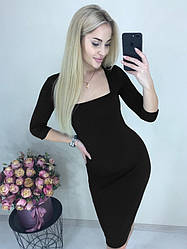"""Коктейльное облегающее однотонное платье до колен с квадратным декольте """"Розалия"""" черное"""
