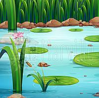 """Велькро-ткань с рисунком """"Озеро"""" в ассортименте"""