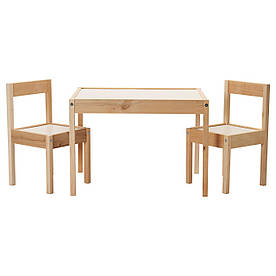 IKEA LATT (501.784.11) Стол для детей и 2 стула, белый, сосна