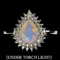 Кольцо серебряное  925 натуральный огненный опал, белый топаз.