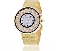 Часы наручные женские со стразами в стиле Swarovski gold Сваровски