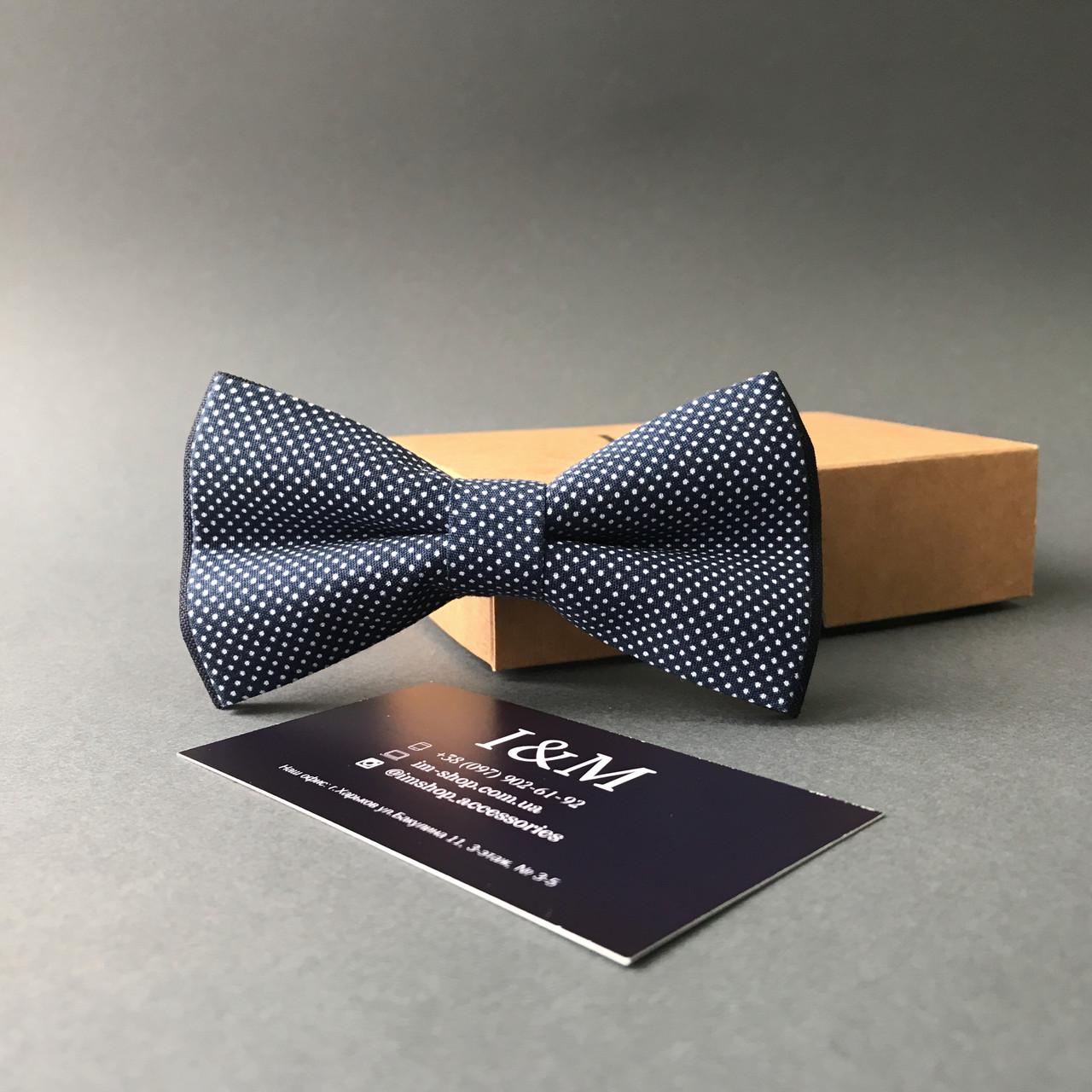Галстук-бабочка I&M Craft синий в горошек (010514)