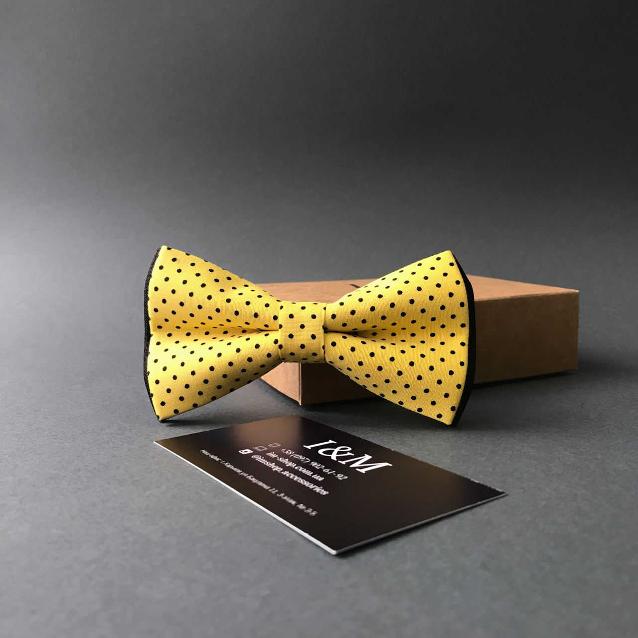 Краватка-метелик I&M Craft в жовтий горошок (010504)
