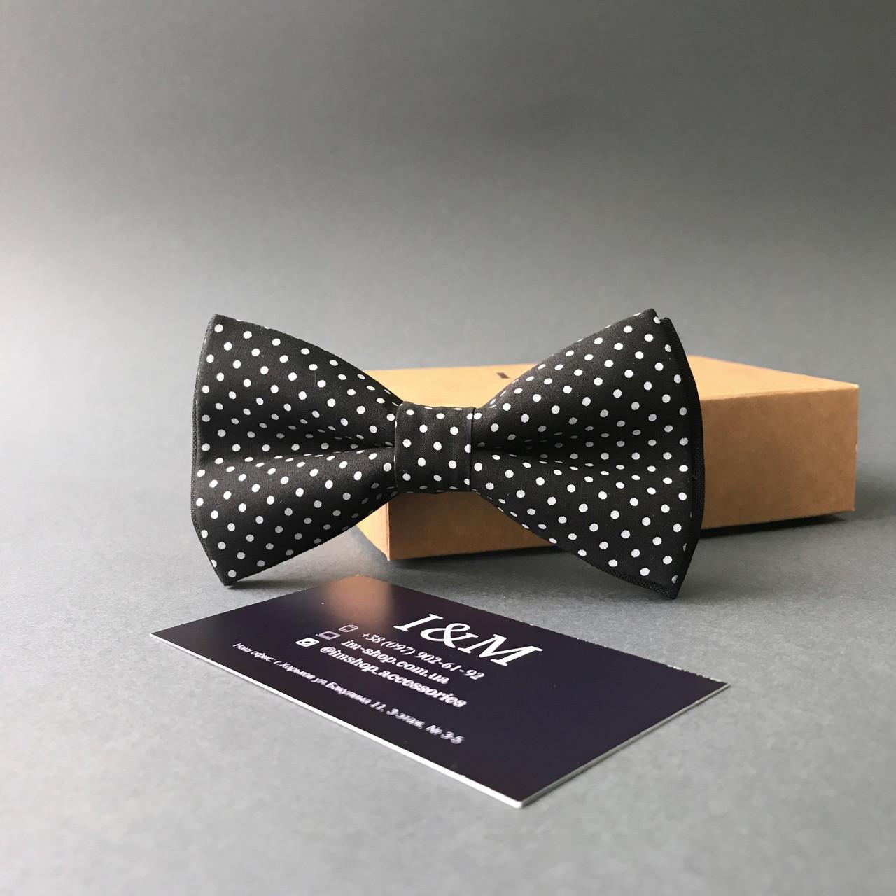 Галстук-бабочка I&M Craft чёрный в горошек (010501)