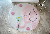 Круглый коврик для ванной Alessia  Розовый слоник с высоким ворсом 90*90