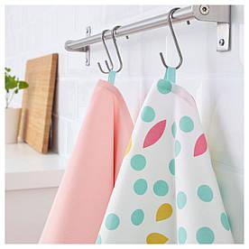 IKEA UDDIG (103.555.28) Рушник кухонне, світло-рожевий, з точками