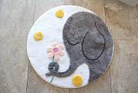 Круглый коврик для ванной Alessia с высоким ворсом 90*90 серый слоник