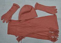 Комплект зимний для девочки р. 52-54: шапка, шарф и перчатки (Ugur, Турция)