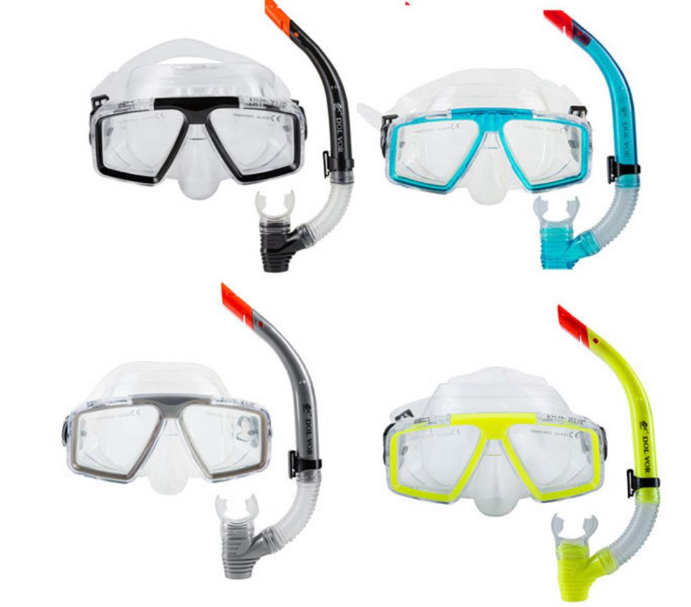 Комплект для плавания маска, трубка Dolvor М 4204